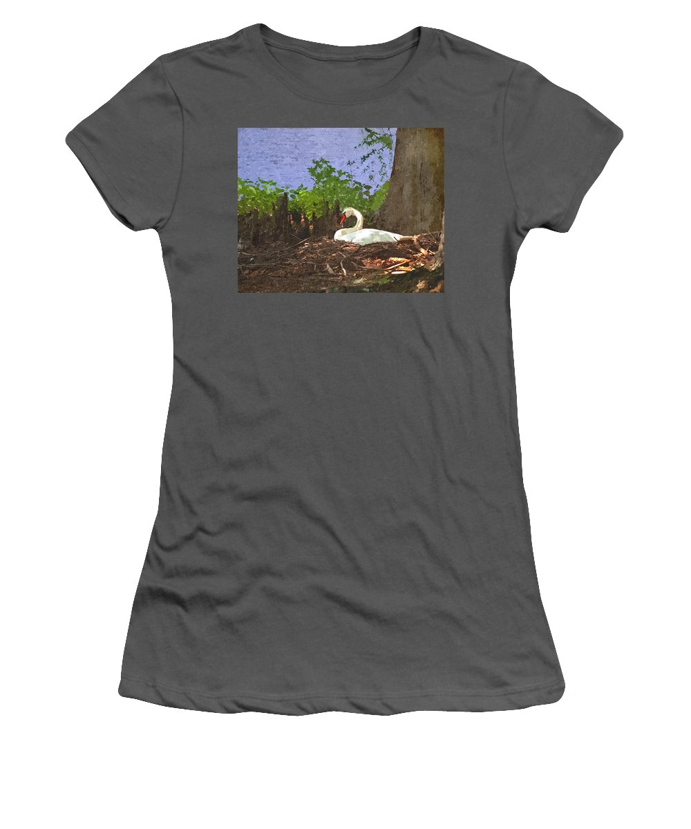 Furman University Women's T-Shirt (Athletic Fit) featuring the photograph Furman University Swan by Gary Adkins