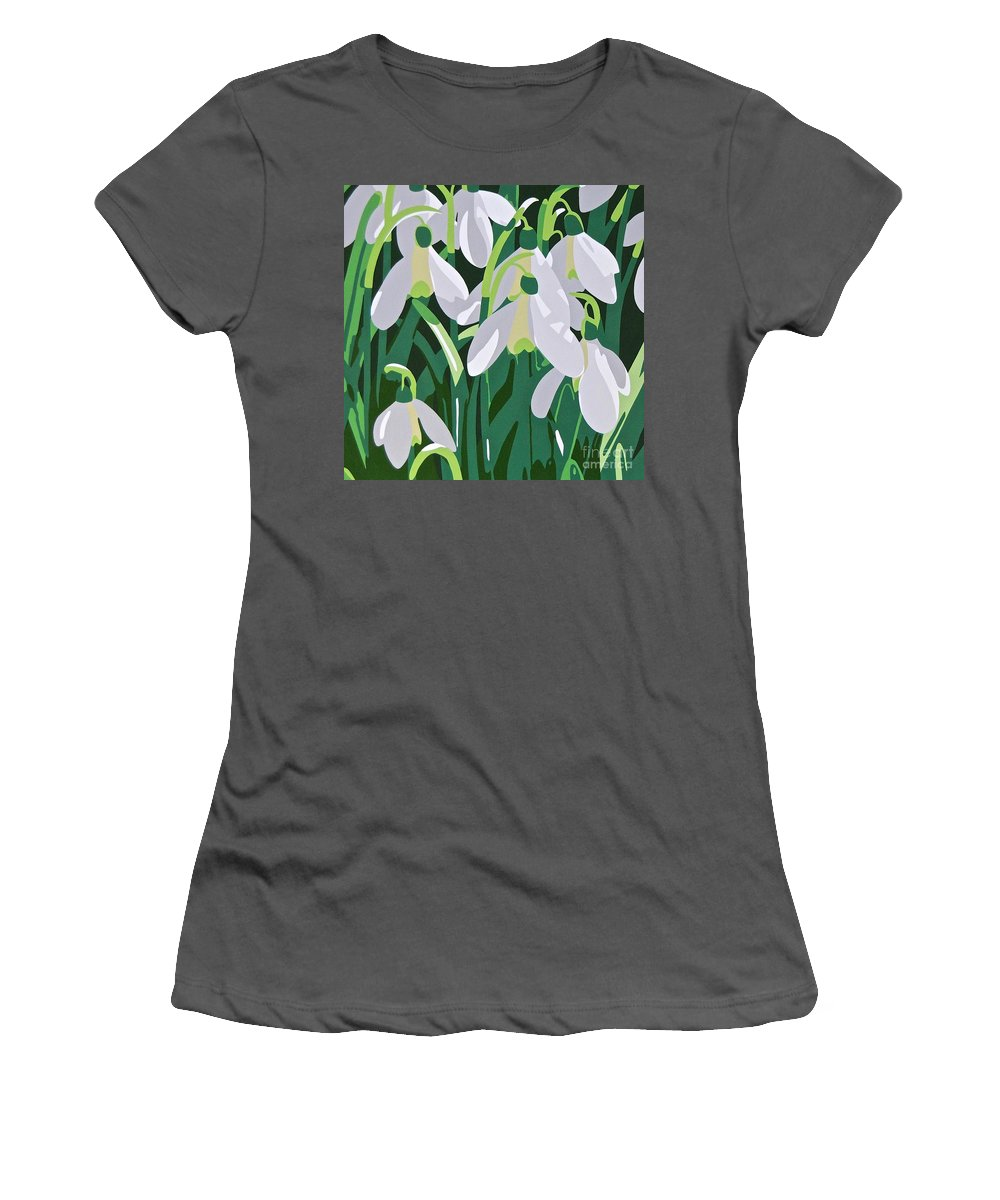 Flower Women's T-Shirt (Athletic Fit) featuring the painting Galanthus by Susan Porter