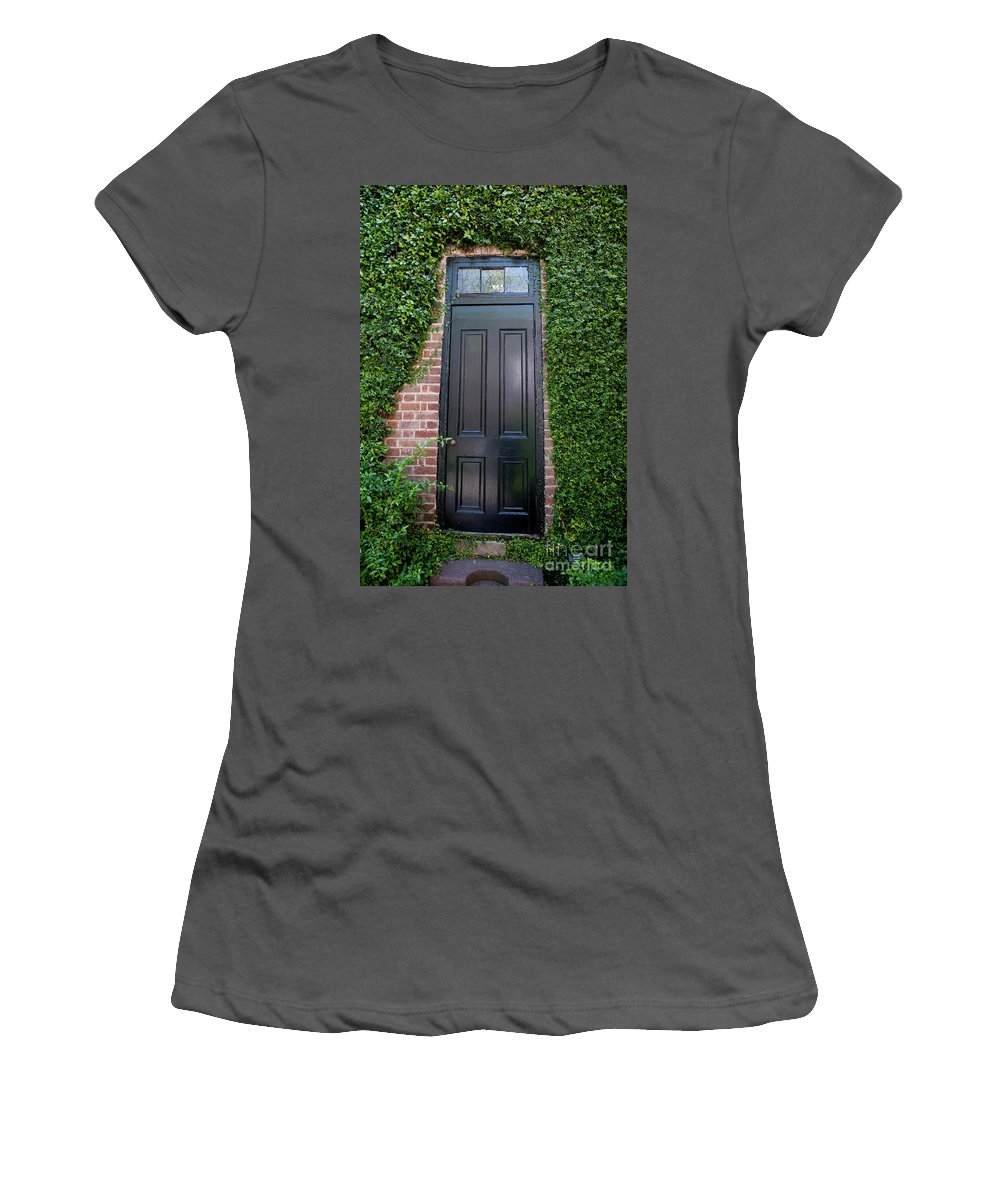 Nathaniel Russell House Women's T-Shirt (Athletic Fit) featuring the photograph Garden Door by Dale Powell