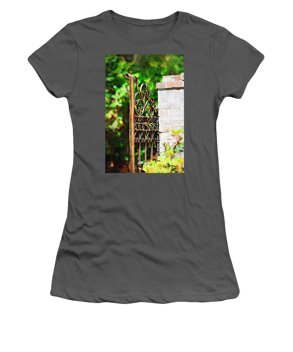 Gardens Women's T-Shirt (Athletic Fit) featuring the photograph Garden Gate by Donna Bentley