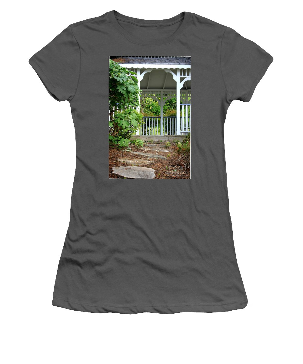 Landscape Women's T-Shirt (Athletic Fit) featuring the photograph Garden Path And Gazebo by Todd Blanchard