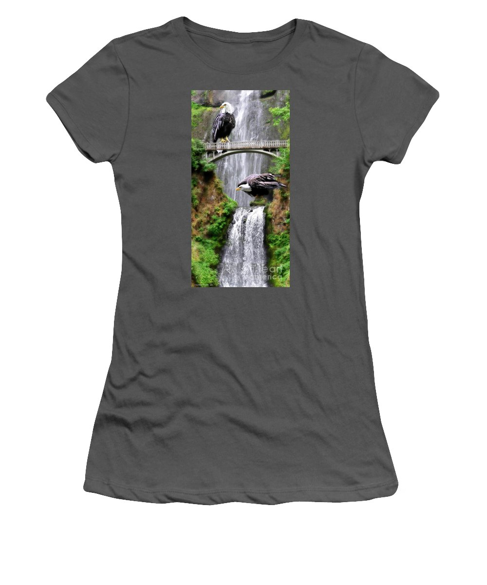 Eagles Women's T-Shirt (Athletic Fit) featuring the painting Gathering Of Eagles by Constance Woods