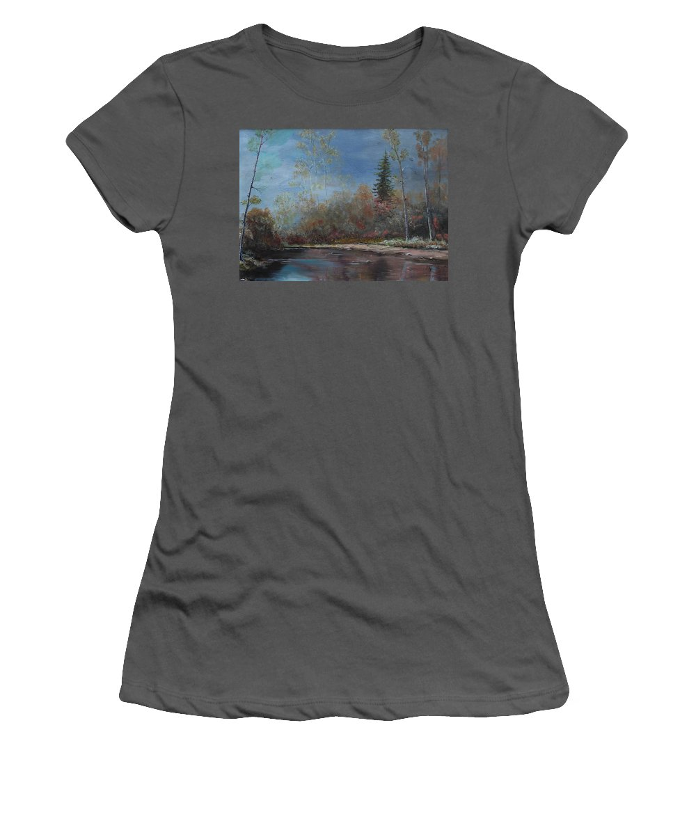 River Women's T-Shirt (Athletic Fit) featuring the painting Gentle Stream - Lmj by Ruth Kamenev