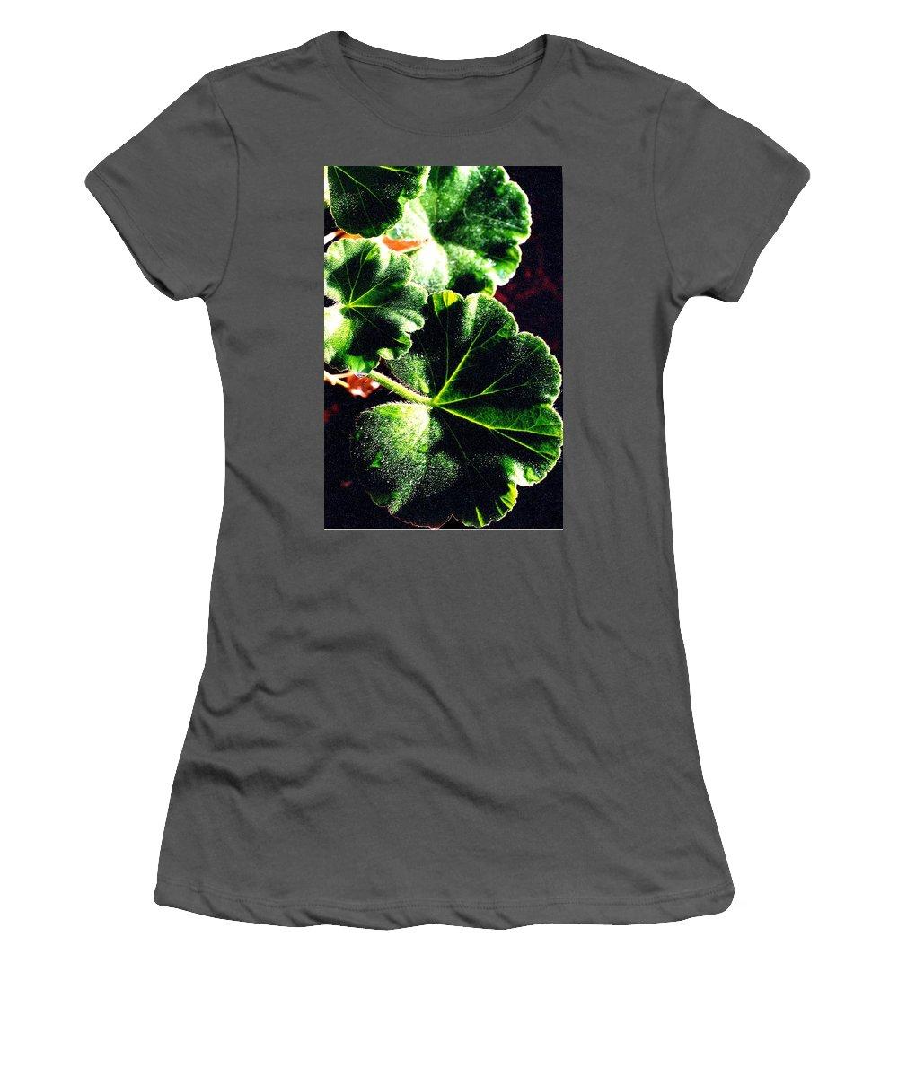 Geraniums Women's T-Shirt (Athletic Fit) featuring the photograph Geranium Leaves by Nancy Mueller
