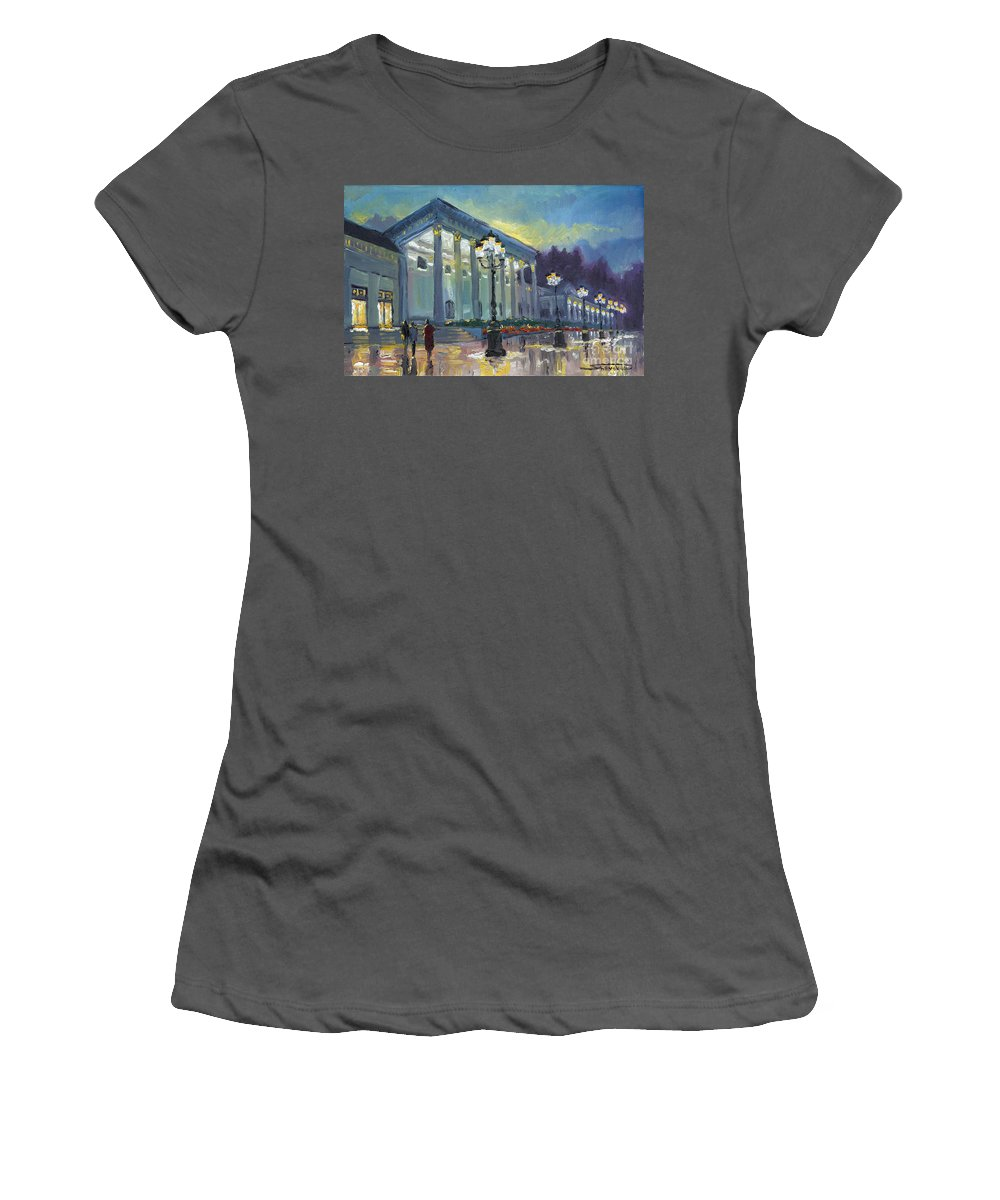 Oil Women's T-Shirt (Athletic Fit) featuring the painting Germany Baden-baden Casino by Yuriy Shevchuk