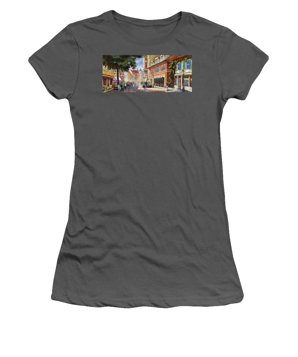 Pastel Women's T-Shirt (Athletic Fit) featuring the painting Germany Baden-baden Lange Str by Yuriy Shevchuk