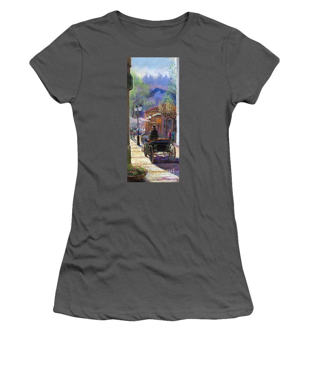 Pastel Women's T-Shirt (Athletic Fit) featuring the painting Germany Baden-baden Spring Ray by Yuriy Shevchuk