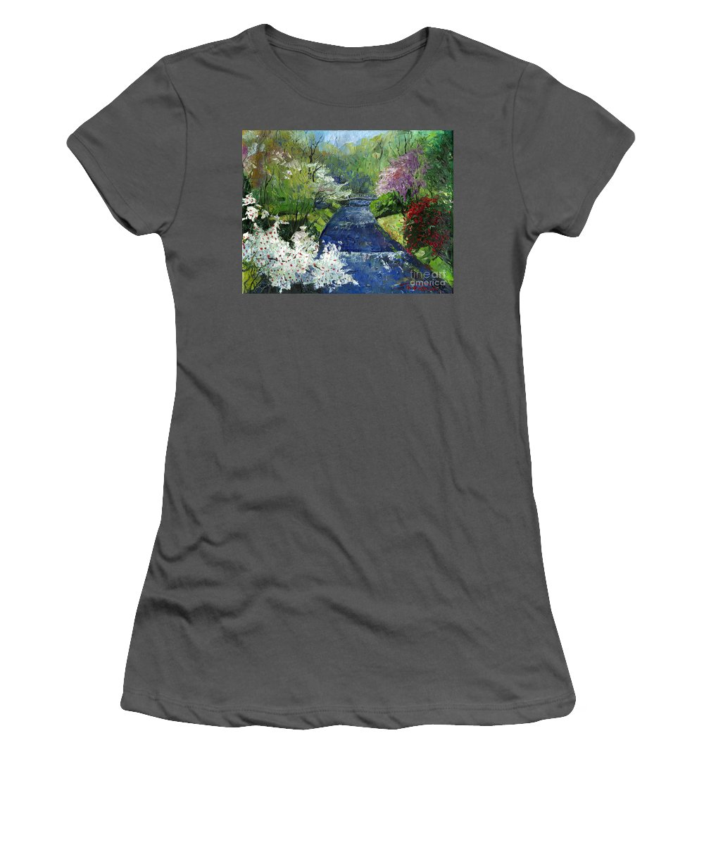 Oil Women's T-Shirt (Athletic Fit) featuring the painting Germany Baden-baden Spring by Yuriy Shevchuk