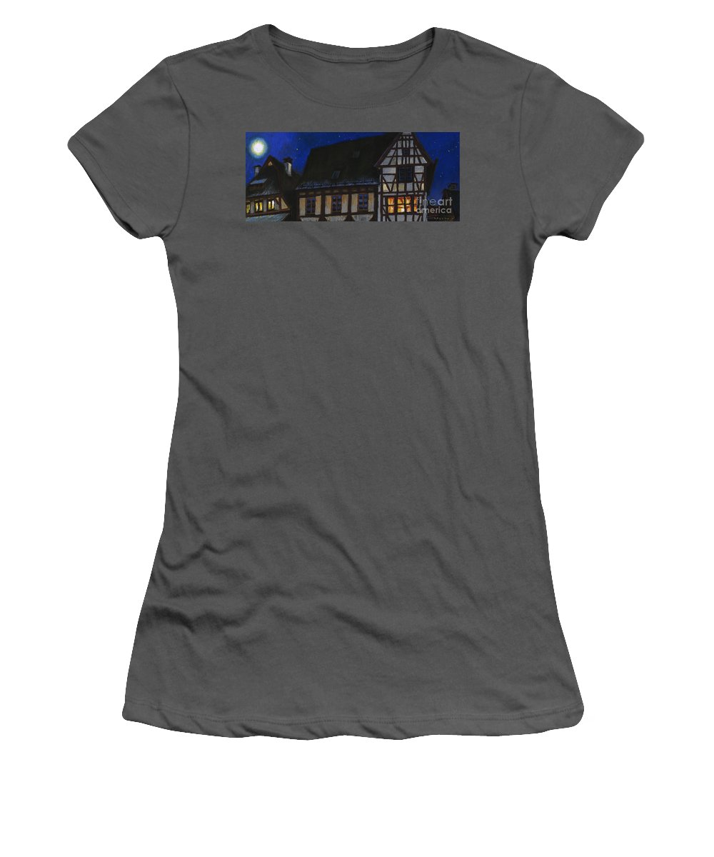 Pastel Women's T-Shirt (Athletic Fit) featuring the painting Germany Ulm Fischer Viertel Moonroofs by Yuriy Shevchuk