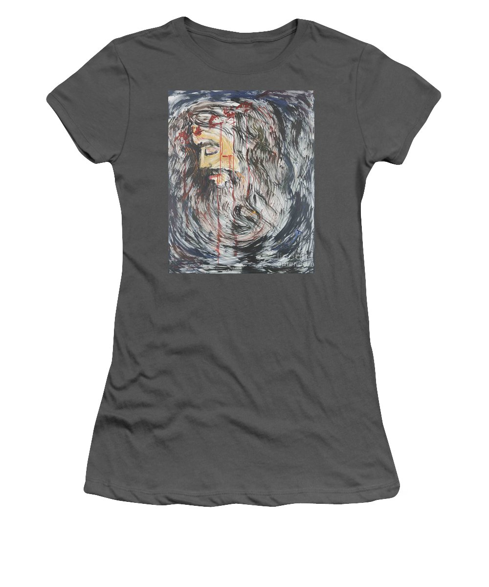 Jesus Women's T-Shirt (Athletic Fit) featuring the painting Gethsemane To Golgotha IIi by Nadine Rippelmeyer