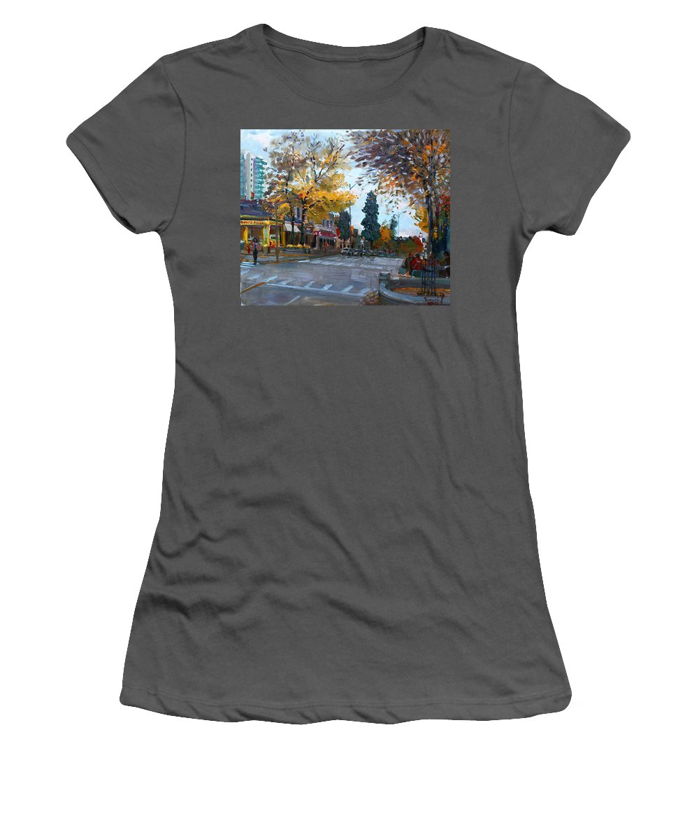 Women's T-Shirt (Athletic Fit) featuring the painting Gino S Pizza Lake Shore by Ylli Haruni