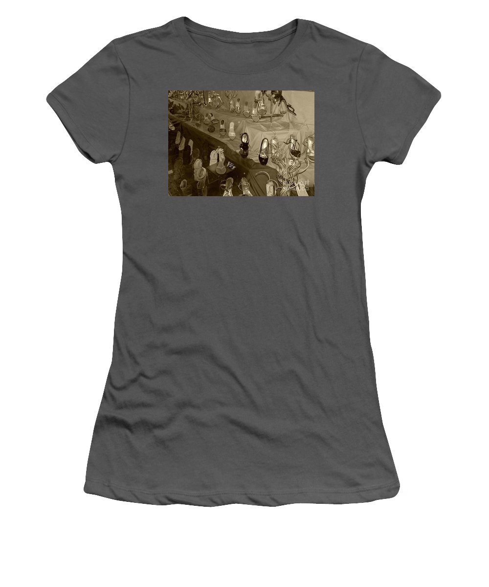 Shoes Women's T-Shirt (Athletic Fit) featuring the photograph Girl Cant Have Enough Shoes by Debbi Granruth