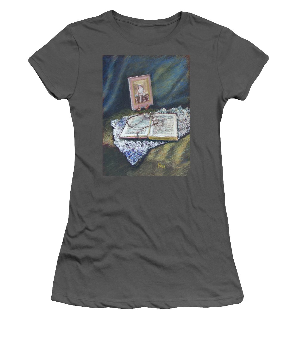 Still Life Women's T-Shirt (Athletic Fit) featuring the painting Girl With A Book by Laurie Paci