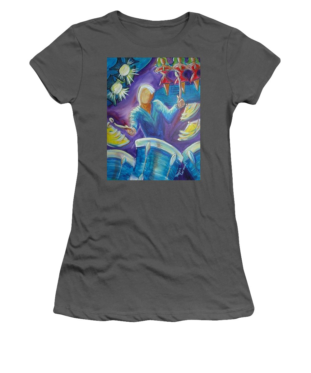 Jazz Women's T-Shirt (Athletic Fit) featuring the painting Give Me A Beat by Regina Walsh