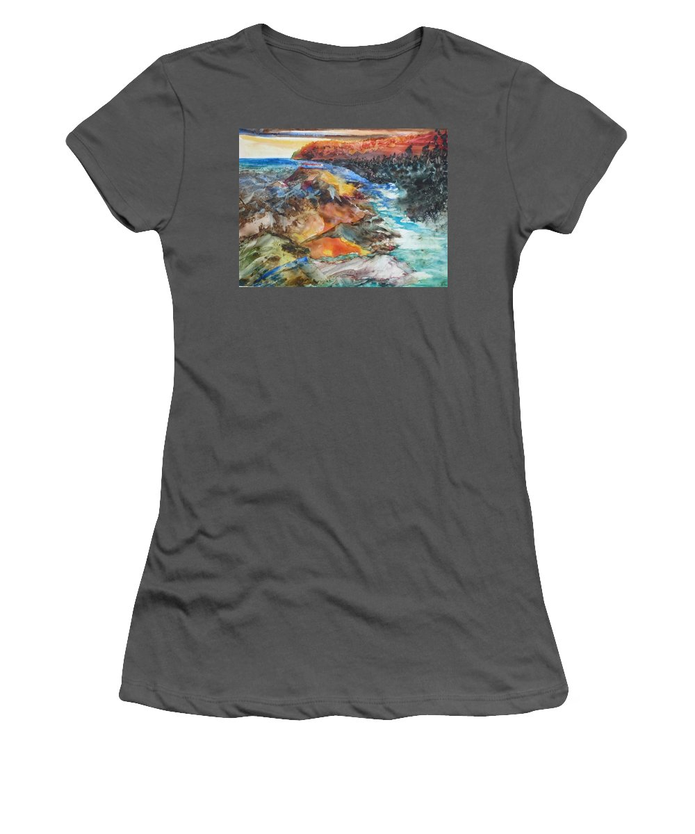 Abstract Women's T-Shirt (Athletic Fit) featuring the painting Glacial Meltdown by Ruth Kamenev