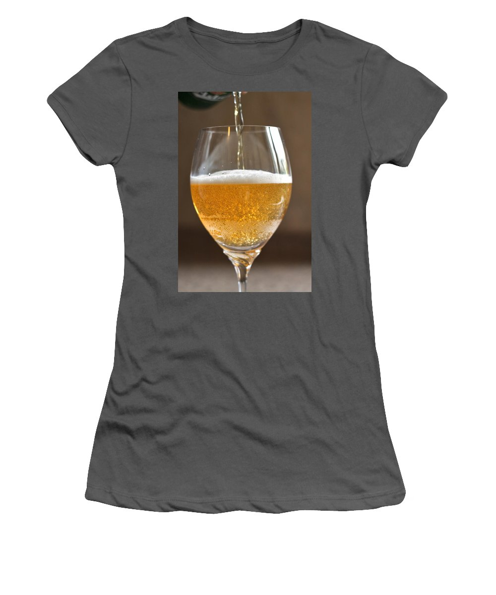 Beer Women's T-Shirt (Athletic Fit) featuring the photograph Glass Of Lager by Louise Heusinkveld