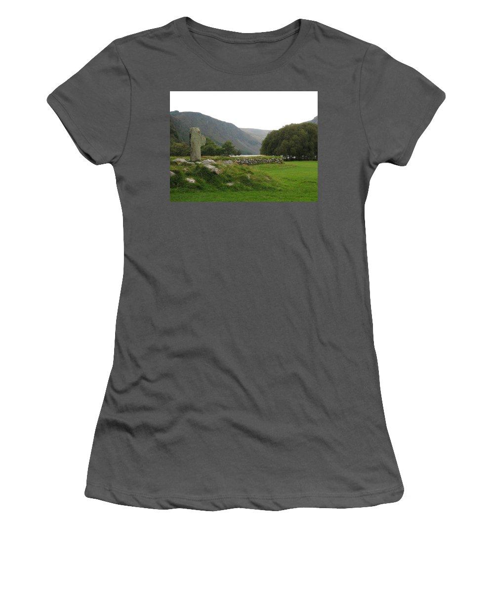 Glendalough Women's T-Shirt (Athletic Fit) featuring the photograph Glendalough by Kelly Mezzapelle