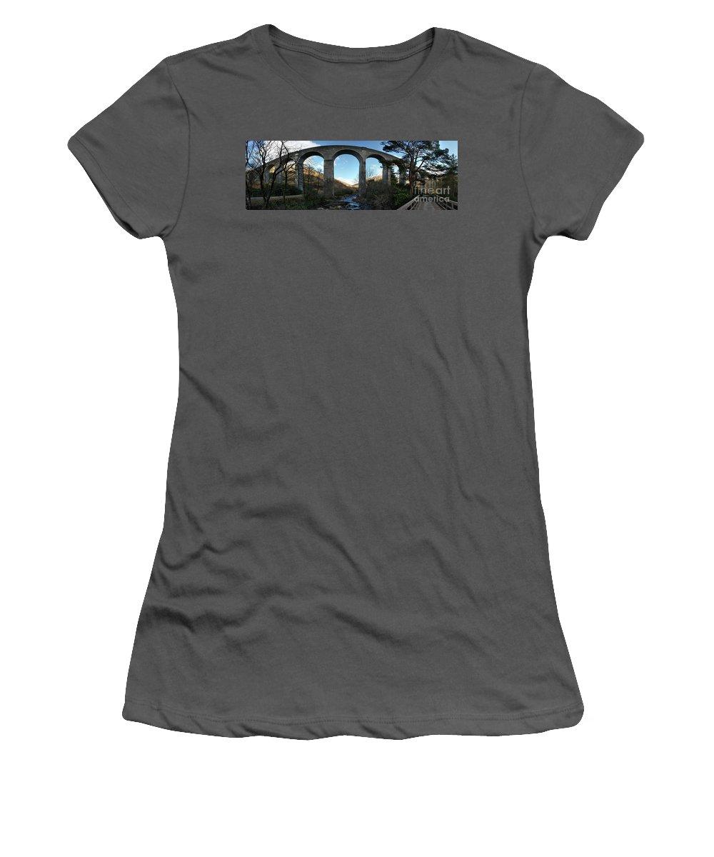 Glenfinnan Women's T-Shirt (Athletic Fit) featuring the photograph Glenfinnan Viaduct by Anton Kossmann