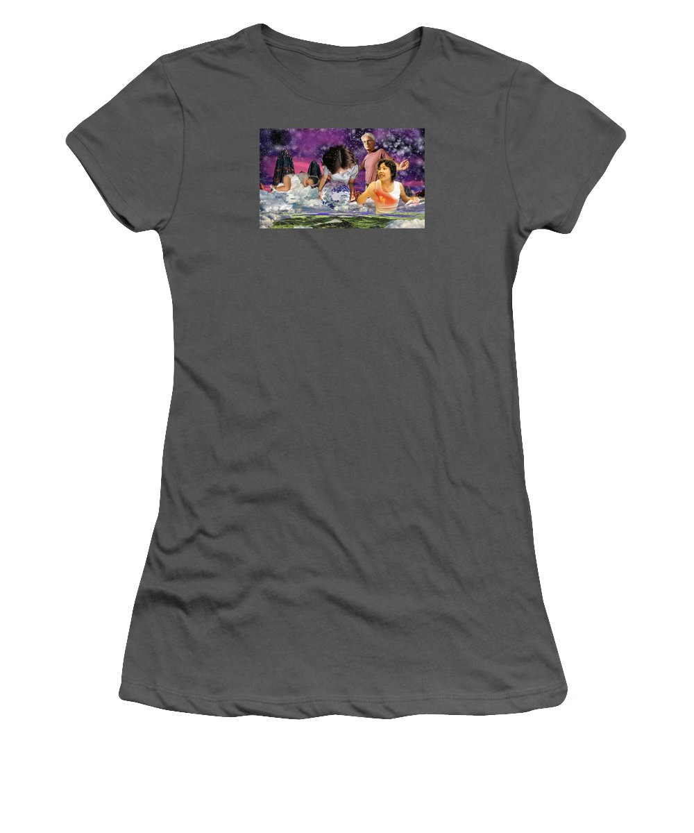 Landscape Women's T-Shirt (Athletic Fit) featuring the digital art Global Dreaming by Dave Martsolf