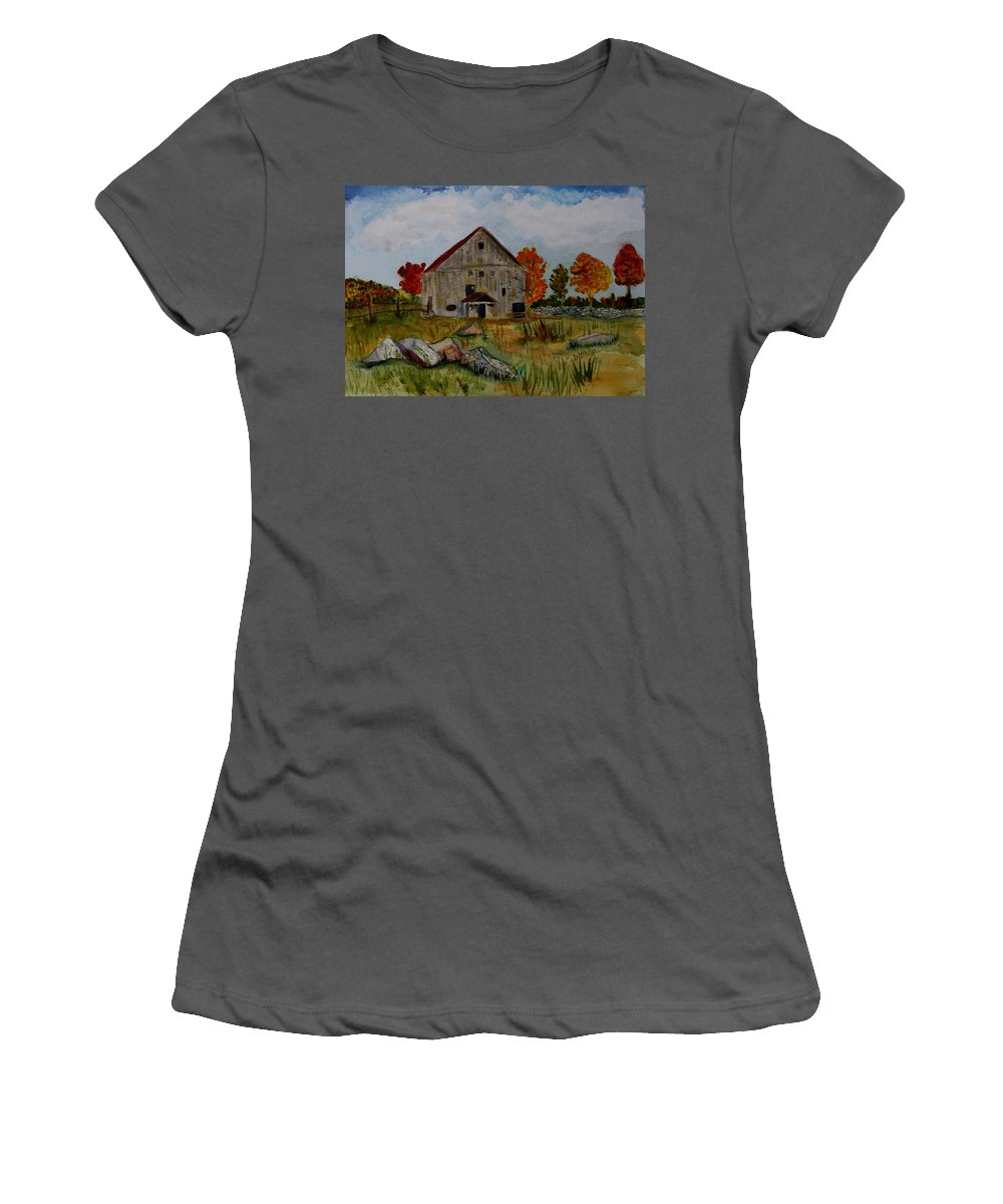 Glover Vt Women's T-Shirt (Athletic Fit) featuring the painting Glover Barn In Autumn by Donna Walsh