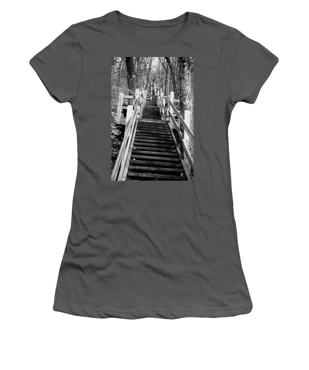 Stairs Women's T-Shirt (Athletic Fit) featuring the photograph Going Up by Jamie Lynn