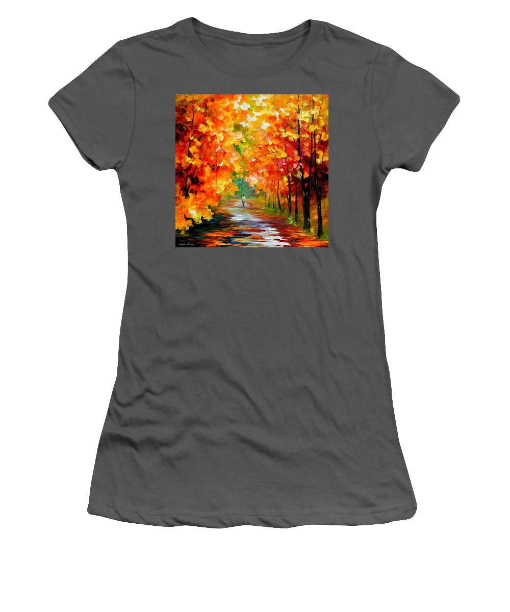 Afremov Women's T-Shirt (Athletic Fit) featuring the painting Gold Expanse by Leonid Afremov
