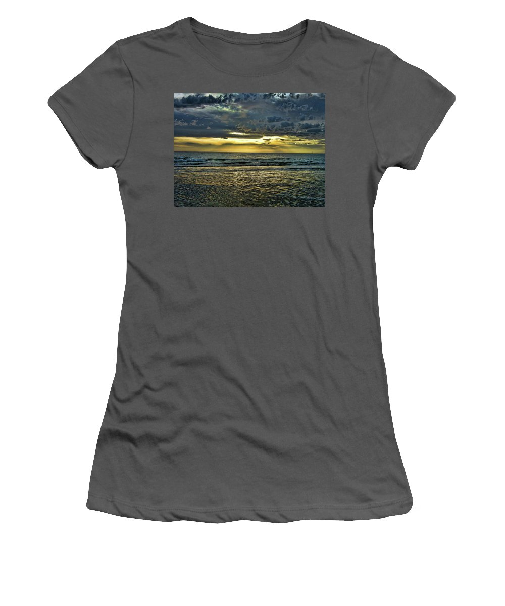 Clouds Women's T-Shirt (Athletic Fit) featuring the photograph Gold Skies by Douglas Barnard