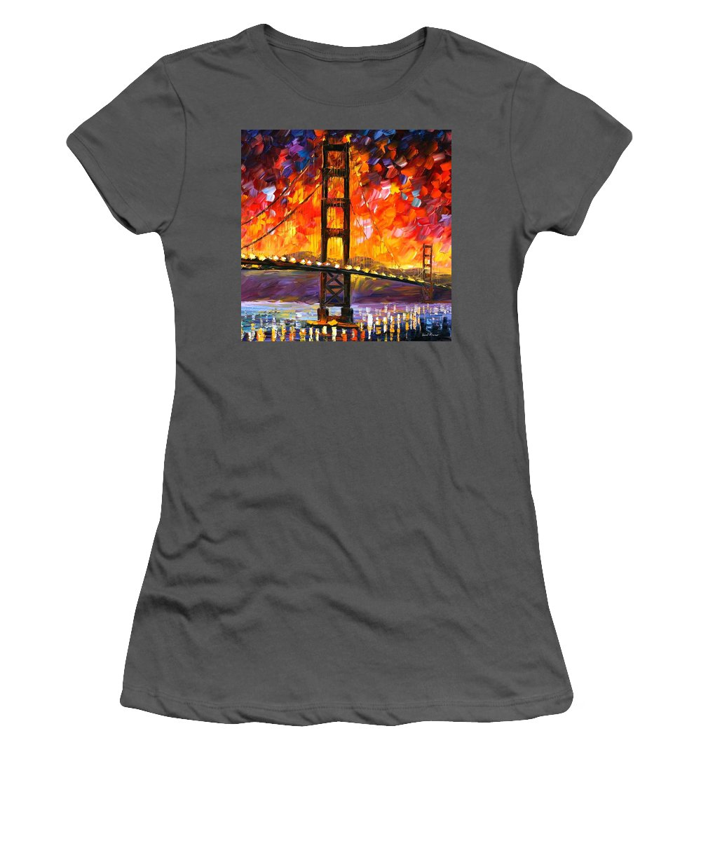 City Women's T-Shirt (Athletic Fit) featuring the painting Golden Gate Bridge by Leonid Afremov