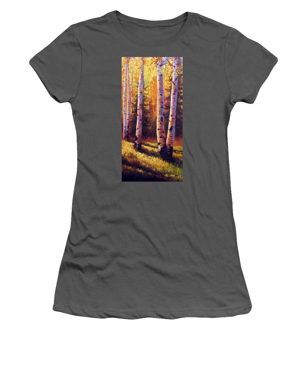Light Women's T-Shirt (Athletic Fit) featuring the painting Golden Light by David G Paul
