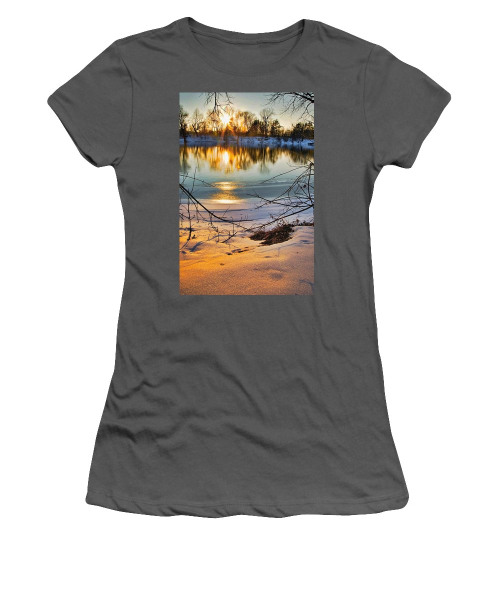 Snow Women's T-Shirt (Athletic Fit) featuring the photograph Golden Snow by Robert Pearson
