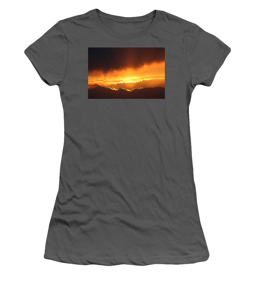 Tiger Gold Sunset Sky Big Cat Wild Animal Scenery Beauty Eyes Hologram Illusion Sky Line Animals Women's T-Shirt (Athletic Fit) featuring the digital art Golden Tiger by Andrea Lawrence
