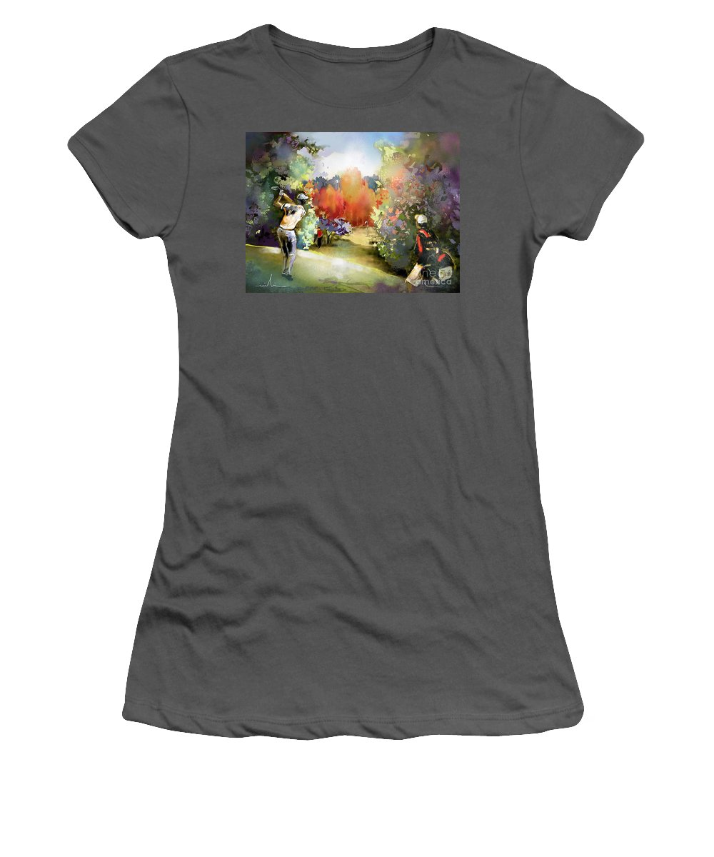 Golf Painting Golfer Sport Gut Laerchenhof Mercedes-benz Championship Pga Golf Women's T-Shirt (Athletic Fit) featuring the painting Golf In Gut Laerchehof Germany 02 by Miki De Goodaboom
