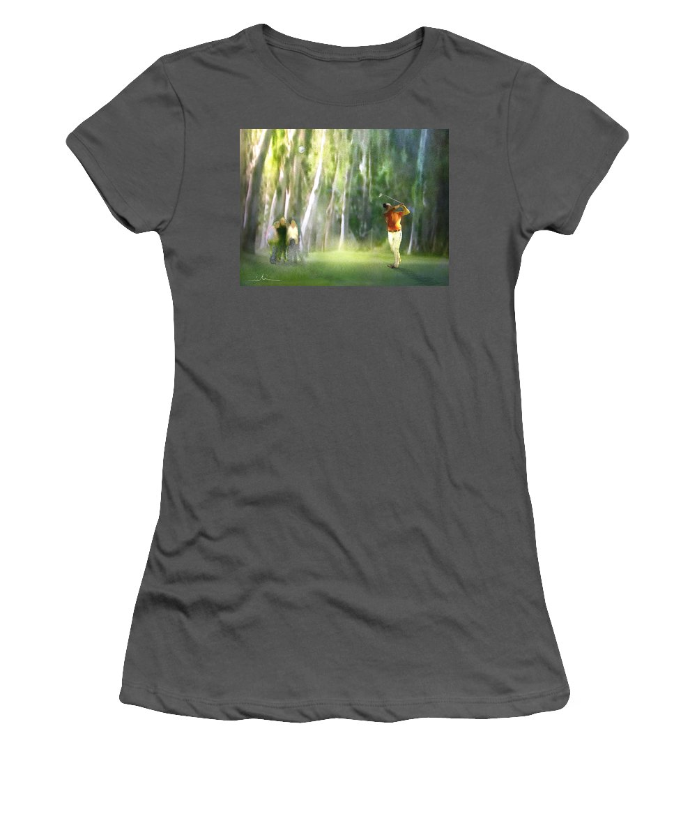 Golf Women's T-Shirt (Athletic Fit) featuring the painting Golf Trophee Hassan II In Royal Golf Dar Es Salam Morocco 01 by Miki De Goodaboom