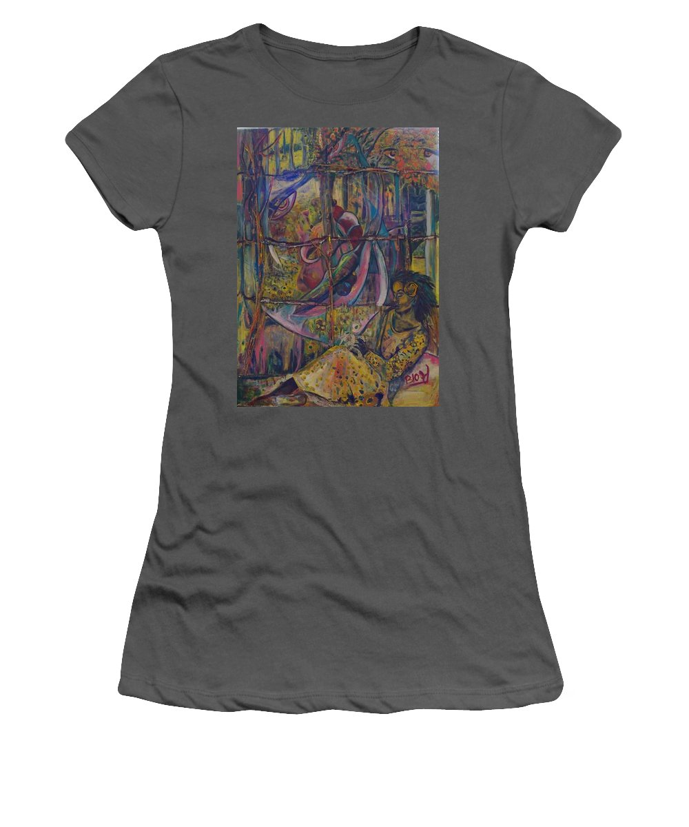 Mother Women's T-Shirt (Athletic Fit) featuring the painting Goodbye Sweet Dreams by Peggy Blood