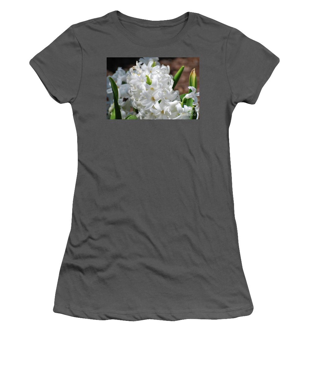 Hyacinth Women's T-Shirt (Athletic Fit) featuring the photograph Goregeous White Flowering Hyacinth Blossom by DejaVu Designs