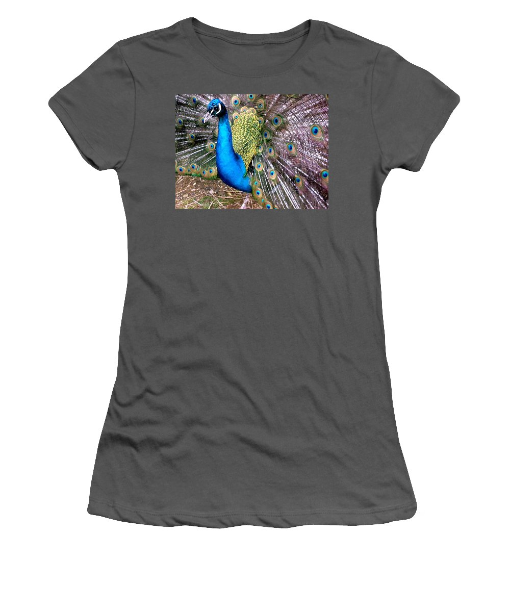Peacock Women's T-Shirt (Athletic Fit) featuring the photograph Gorgeous George by Susan Baker