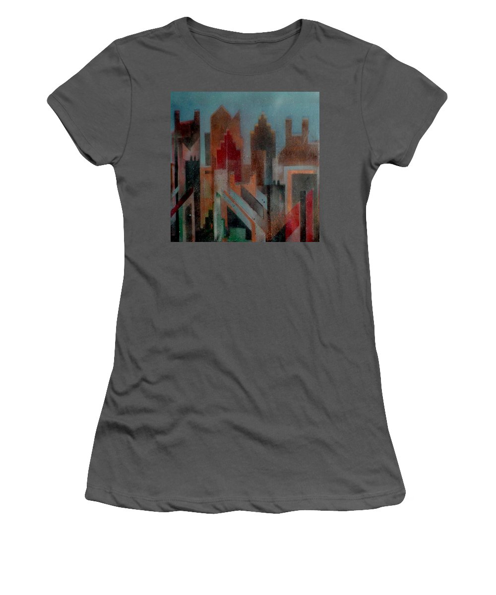 Abstract Women's T-Shirt (Athletic Fit) featuring the painting Gothem City by Anita Burgermeister