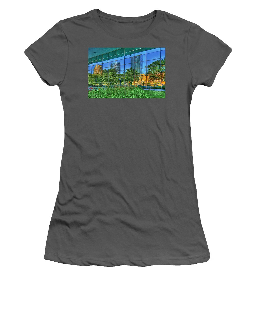 Grand Rapids Women's T-Shirt (Athletic Fit) featuring the photograph Grand Rapids Mi On Glass-18 by Robert Pearson