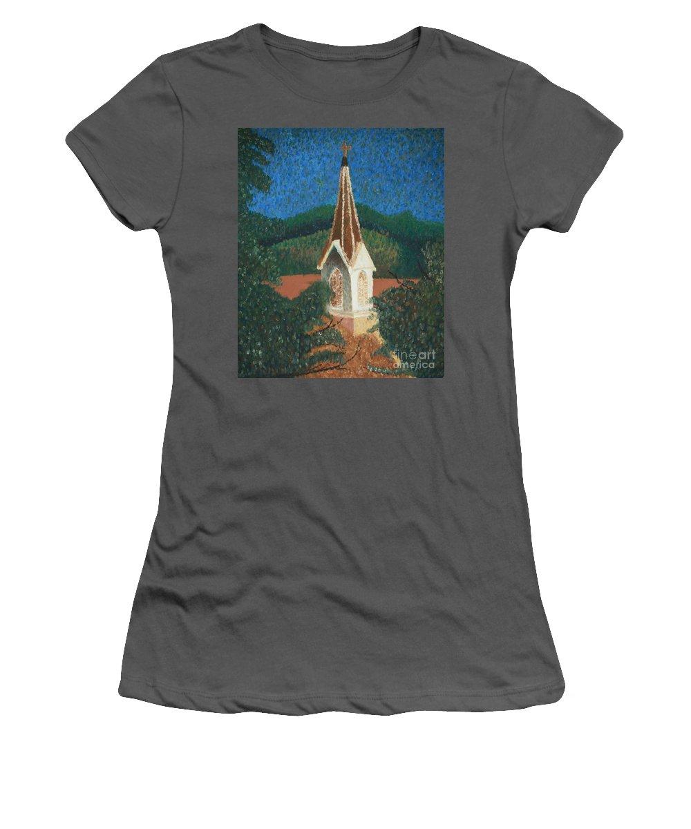 Grandma's Church Women's T-Shirt (Athletic Fit) featuring the painting Grandmas Church by Jacqueline Athmann