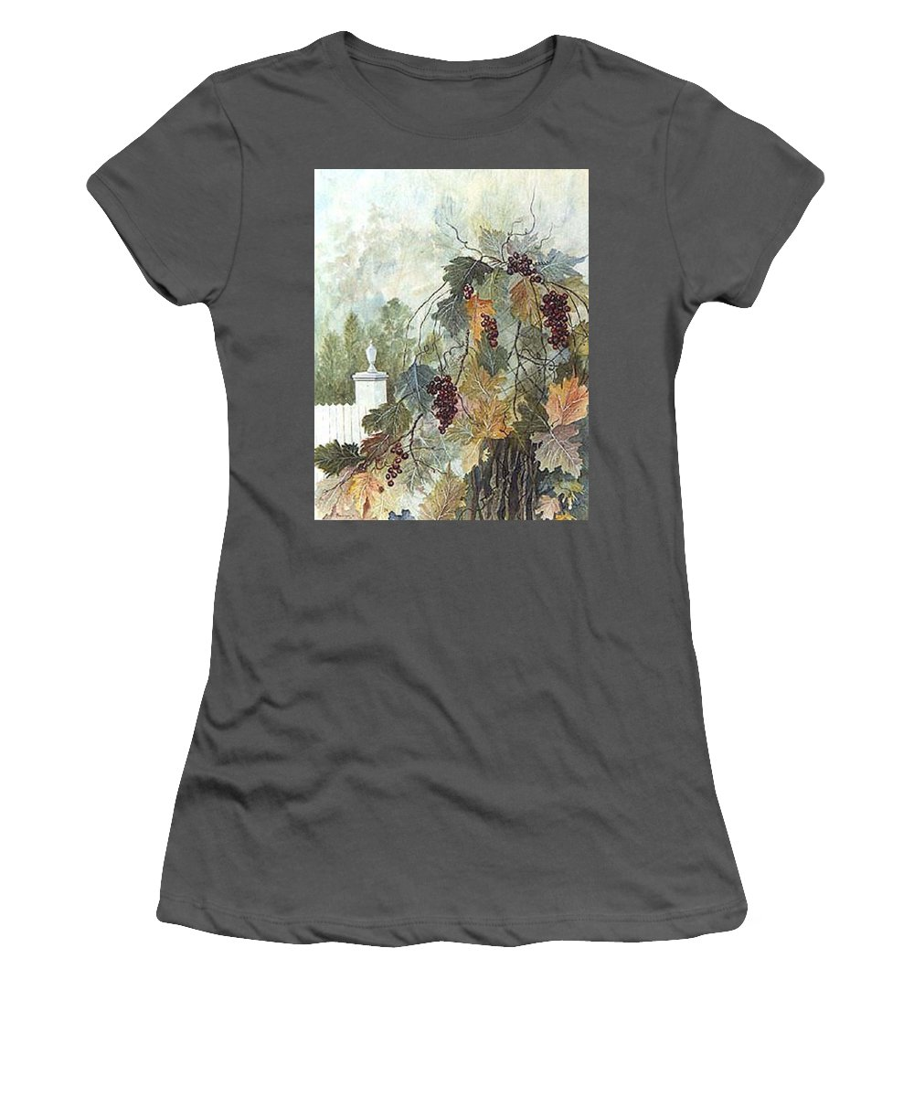 Fruit Women's T-Shirt (Junior Cut) featuring the painting Grapevine Topiary by Ben Kiger