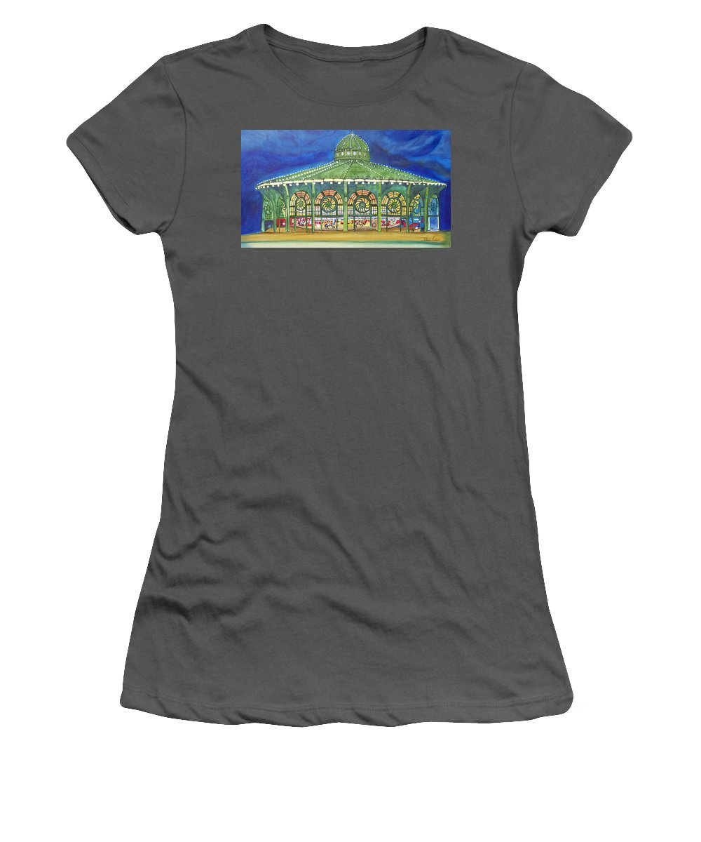 Night Paintings Of Asbury Park Women's T-Shirt (Athletic Fit) featuring the painting Grasping The Memories by Patricia Arroyo