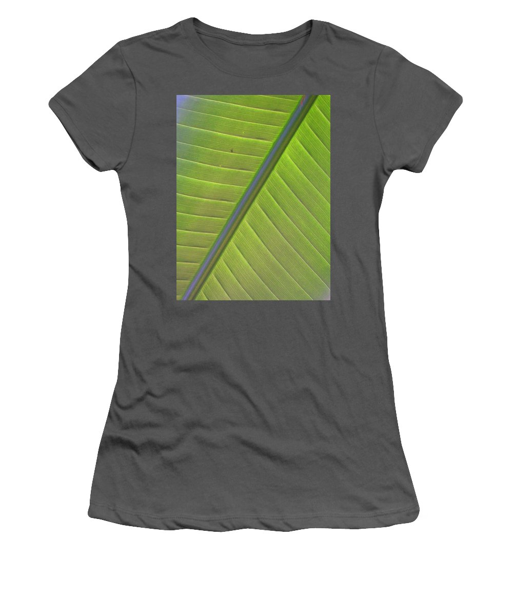 Leaf Women's T-Shirt (Athletic Fit) featuring the photograph Green And Purple Pattern by Laurie Paci