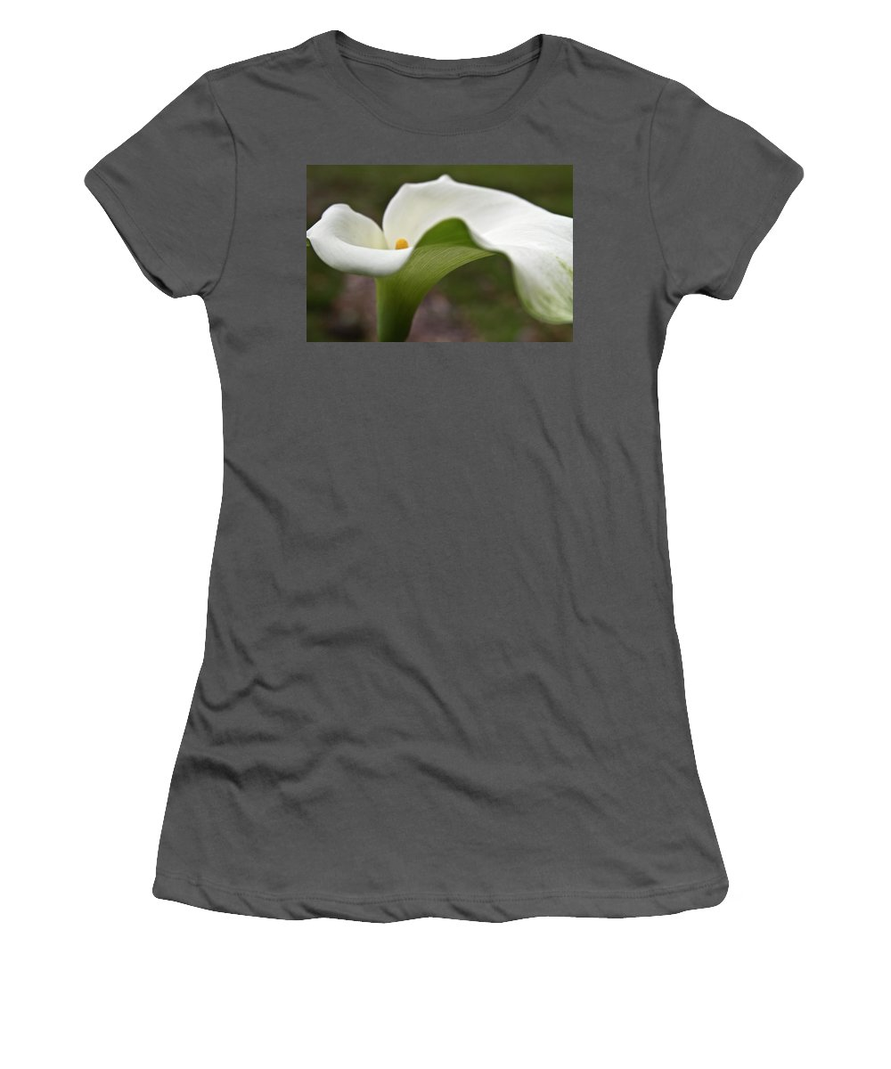 Calla Women's T-Shirt (Athletic Fit) featuring the photograph Green Calla by Heiko Koehrer-Wagner