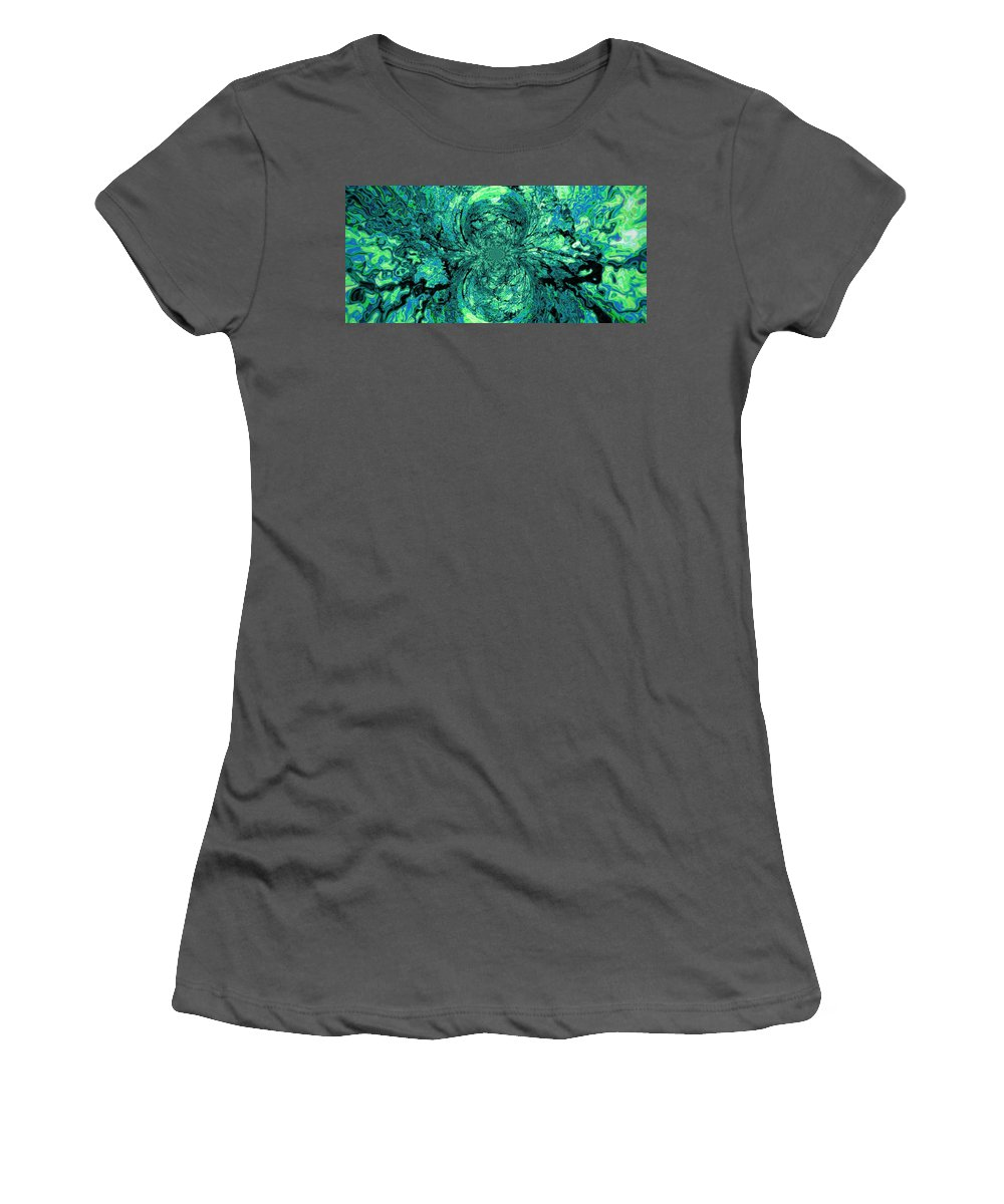 Green Women's T-Shirt (Athletic Fit) featuring the digital art Green Irrevelance by Charleen Treasures