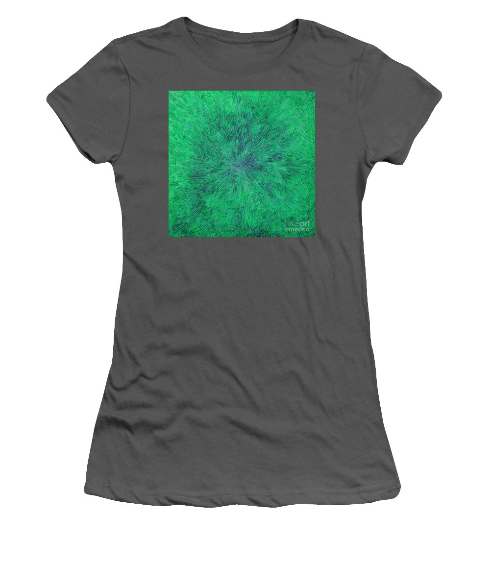 Abstract Women's T-Shirt (Athletic Fit) featuring the painting Green Radation With Violet by Dean Triolo
