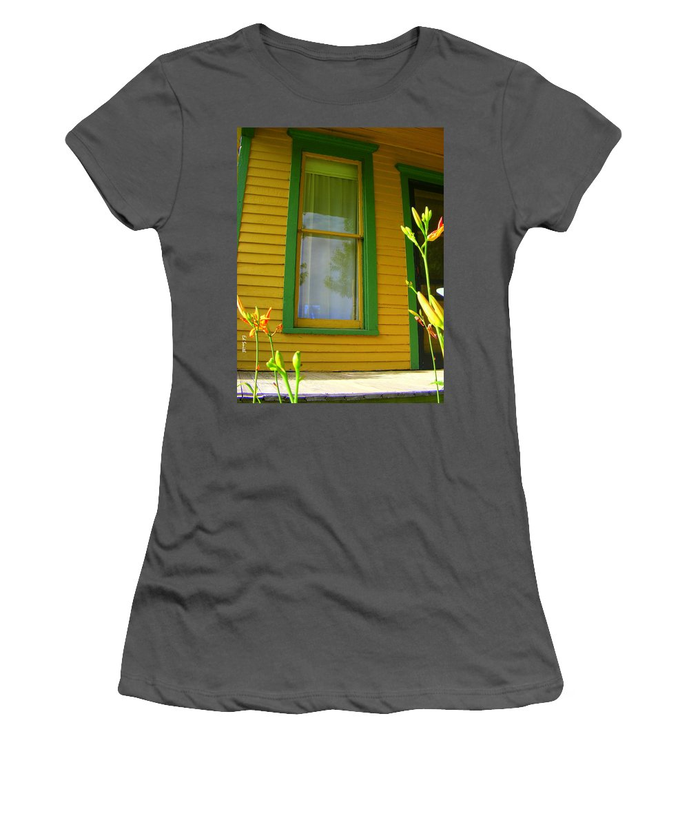 Green Window Women's T-Shirt (Athletic Fit) featuring the photograph Green Window by Ed Smith