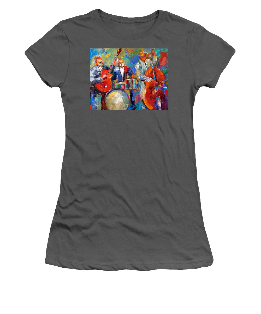 Jazz Painting Women's T-Shirt (Athletic Fit) featuring the painting Guitar Drums And Bass by Debra Hurd