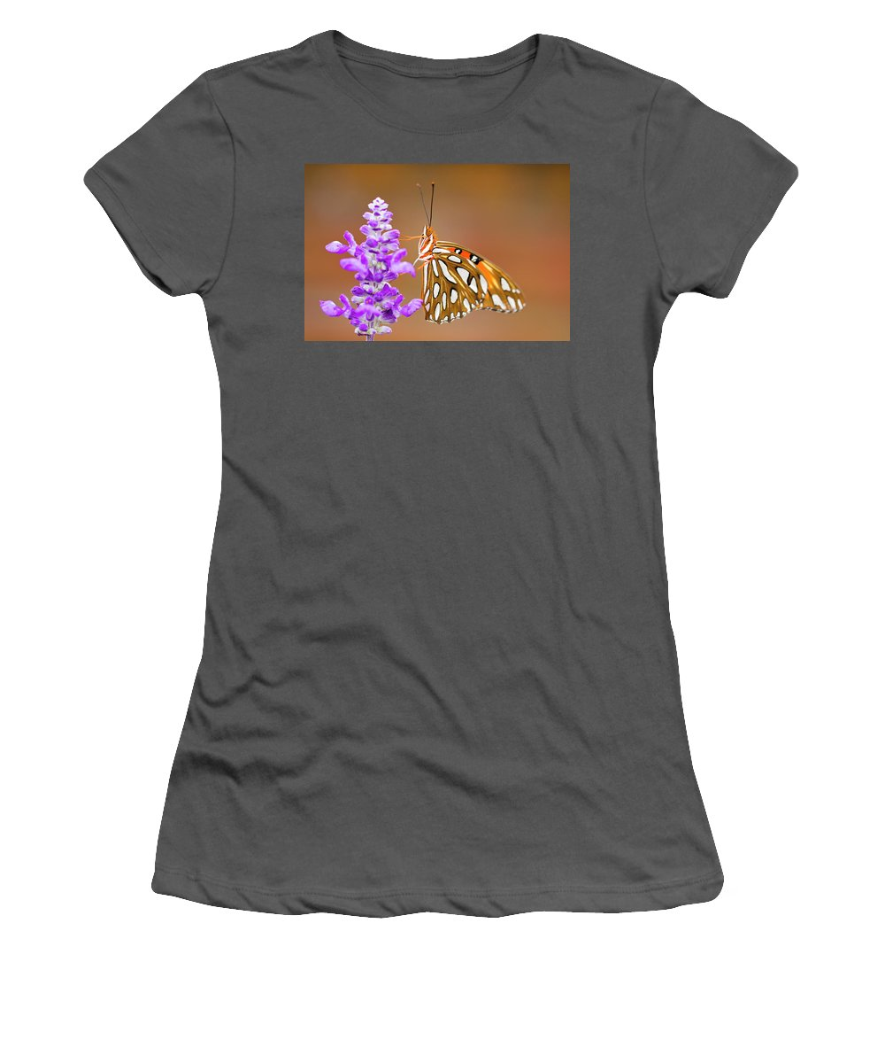 Butterfly Women's T-Shirt (Athletic Fit) featuring the photograph Gulf Fritillary by Shelley Neff