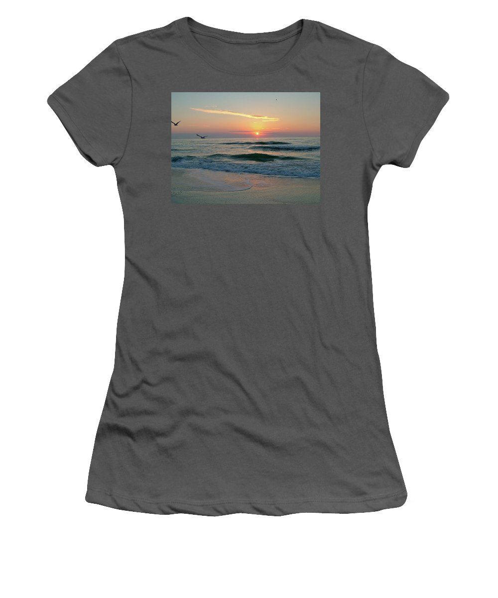 Gulls Women's T-Shirt (Athletic Fit) featuring the photograph Gulls On The Gulf At Sunset by Susan Wyman