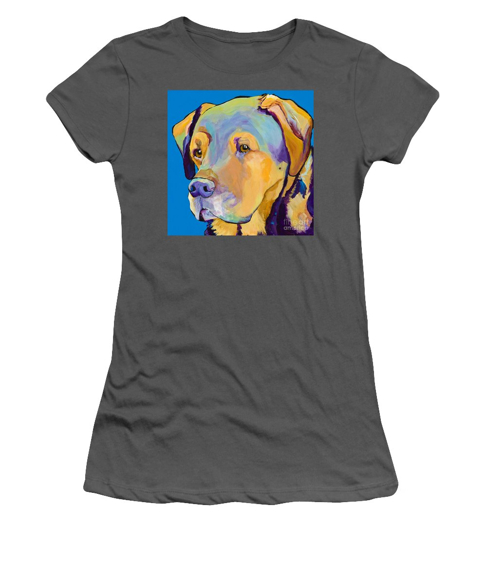 Dog Portrait Women's T-Shirt (Athletic Fit) featuring the painting Gunner by Pat Saunders-White